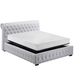 J&M Chesterfield King Platform Storage Bed in White 17776-KW