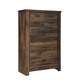 Quinden Rustic Five Drawer Chest in Dark Brown B246-46
