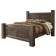 Quinden Rustic Queen Poster Bed in Dark Brown