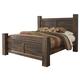 Quinden Rustic King Poster Bed in Dark Brown