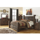 Quinden Rustic Storage Poster Bedroom Set in Dark Brown