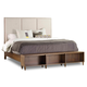 Hooker Furniture Studio 7H Aon Queen Upholstered Panel Bed w/ Bookcase Footboard in Walnut 5398-90150
