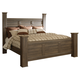 Juararo Contemporary California King Poster Bed in Dark Brown