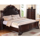 Crown Mark Furniture Sheffield Upholstered King Bed in Dark Cherry