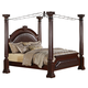 Crown Mark Furniture Neo Renaissance King Poster  Bed in Dark Walnut