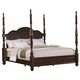 Crown Mark Furniture Georgia Poster King Bed in Dark Pecan