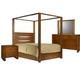 Ligna Aspen 4 Piece Lodge Canopy Bedroom Set in Honey
