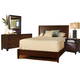 Ligna Canali 4 Piece Louvered Low Profile Bedroom Set in Mocha