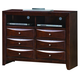 Crown Mark Furniture Emily Media Chest in Rich Cherry B4207