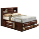 Crown Mark Furniture Emily Captain's King Bed in Rich Cherry
