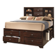 Crown Mark Furniture Stella Captain's Queen Bed in Rich Brown