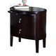 Ligna Port 2 Drawer Oval Night Table in Rose Brown 6622RB