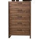 Ligna Tribeca 5 Drawer High Chest in Natural Walnut 9324NW