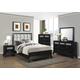 Crown Mark Furniture Elise Upholstered Bedroom Set in Glossy Black
