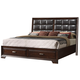 Crown Mark Furniture Jacob Upholstered Storage King Bed in Rich Brown