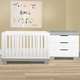 Babyletto Modo 3-in-1 Convertible Crib Set in Grey/White