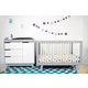 Babyletto Hudson 3-in-1 Convertible Crib Set in Grey/White