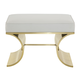 Bernhardt Jet Set Upholstered Bench with White Bonded Leather in Brass 356-507