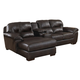 Jackson Lawson 3 Piece Sectional (LSF Chaise-Console w/ Entertainment-RSF Loveseat) in Godiva