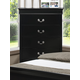 Crown Mark Furniture Louis Philip Drawer Chest in Black B3900-4