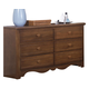 Carolina Furniture Crossroads Double Dresser in Brown Cherry 315600