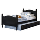 Carolina Furniture Carolina Midnight Twin Cottage Bed with Trundle in Black