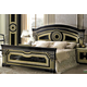 ESF Furniture Aida King Panel Bed in Black w/ Gold