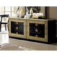 ESF Furniture Aida Double Dresser in Black w/ Gold