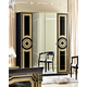 ESF Furniture Aida 4 Door Wardrobe in Black w/ Gold
