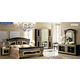 ESF Furniture Aida 4-Piece Panel Bedroom Set in Black w/ Gold
