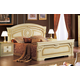 ESF Furniture Aida Queen Panel Bed in Ivory w/ Gold