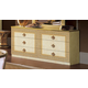 ESF Furniture Aida Double Dresser in Ivory w/ Gold