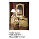 ESF Furniture Aida Vanity Dresser in Ivory w/ Gold