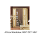 ESF Furniture Aida 4 Door Wardrobe in Ivory w/ Gold
