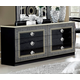 ESF Furniture Aida Double Dresser in Black w/ Silver