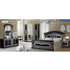 ESF Furniture Aida 4-Piece Panel Bedroom Set in Black w/ Silver