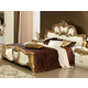 ESF Furniture Barocco King Leather Panel Bed in Ivory w/ Gold
