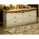 ESF Furniture Barocco Double Dresser in Ivory w/ Gold