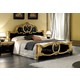 ESF Furniture Barocco King Leather Panel Bed in Black w/ Gold