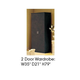 ESF Furniture Barocco 2-Door Wardrobe in Black w/ Gold