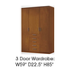 ESF Furniture 114 3 Door Wardrobe in Cherry