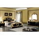 ESF Furniture Barocco 4-Piece Panel Bedroom Set in Black w/ Gold