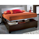 ESF Furniture Luxury King Platform Storage Bed in White and Brown