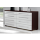 ESF Furniture Luxury Double Dresser in White and Brown