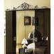 ESF Furniture Barocco 4-Door Wardrobe in Black w/ Silver