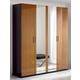 ESF Furniture Sal 4 Door Wardrobe in Black/ Walnut