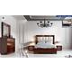 ESF Furniture Carmen 4-Piece Upholstered Platform Bedroom Set in Walnut