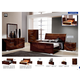 ESF Furniture Capri 4-Piece Sleigh Bedroom Set in Walnut