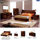 ESF Furniture Cindy 4-Piece Sleigh Bedroom Set in Walnut