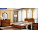 ESF Furniture Nostalgia (Comp 6) 4-Piece Curvo Fegio Platform Bedroom Set in Walnut